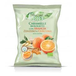 آبنبات کاراملی مغزدار ارگانیک پرتقال، زنجبیل و زردچوبه سرا ایتالیا | SERRA