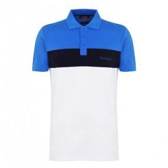 پلوشرت آستین کوتاه آبی سفید مردانه پیرکاردین | Pierre Cardin