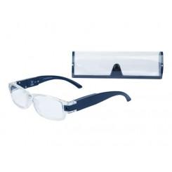 عینک مطالعه LED دار با فریم آبی-شفاف آریول | AURIOL