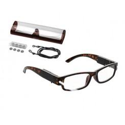 عینک مطالعه LED دار با فریم قهوه ای براق آریول | AURIOL