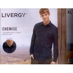 پیراهن ملانژ آستین بلند آبی تیره مردانه لیورجی | LIVERGY