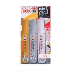 مجموعه 3 رنگ اکریلیک ماژیکی کریاباکس CREA BOX