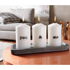 پک 3 عددی شمع و جا شمعی طرح You & Me چیبو | Tchibo